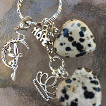 Dalmatian Jasper Cute Hearts with Fairy Charm, Tiara, and Hope Keyring with FREE Bag & Affirmation Card.Healing Energy Infused. TEMPT