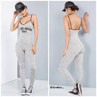 Gray Letter Print Backless Bodycon Jumpsuit