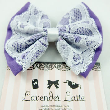 Lavender Purple Fabric Handmade Hair Bow with White Lace Overlay and White Satin Ribbon