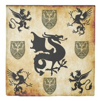 griffins and dragon with shield duvet cover