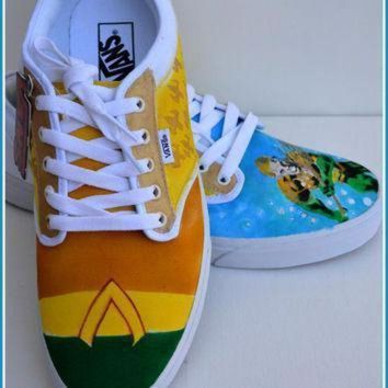 VONE05D mens shoes mens vans mens painted shoes mens custom shoes vans converse aquaman