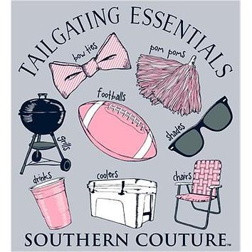 Southern Couture Tailgating Essentials Football Bow Pom Poms Cooler Long Sleeve Girlie Bright T Shirt