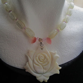 Mother of Pearl Rose on Acrylic Ivory Colored Necklace