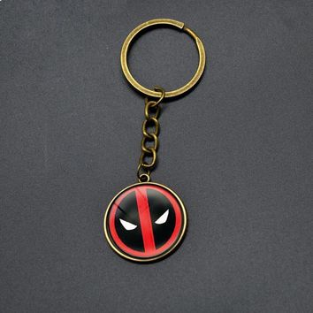 Hot Sell DEADPOOL Key Chains Boy DC Anime Glass Cabochon Dome Pendant Keychain Vintage Cartoon Key Rings For Men Students Gifts