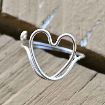 Ajustable Wire Wrapped Silver Summer Love Heart Ring