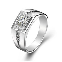 Sterling Silver CZ Diamond Ring for Men Vintage Jewelry