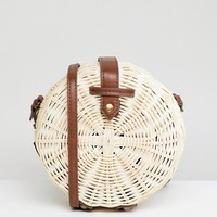 ASOS DESIGN Structured Straw Circle Bag at asos.com