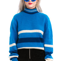 Vintage 70's Azure Blue Striped Pullover- One Size Fits Many