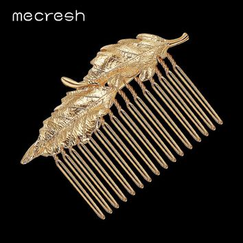 Leaf Bridal Hair Comb Gold Color Wedding Hair Accessory