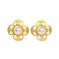 Chanel Faux Pearl & Goldtone Flower Clip Earrings w. CCs c.'95