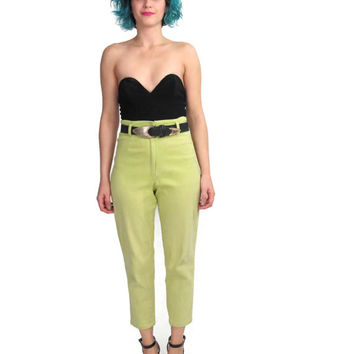 80s 90s Lime High Waist Cropped Pants Slim Neon Yellow Trousers Retro Skinny Ankle Grazer Capris Rockabilly Pinup Pants S. Oliver (XS/S)