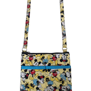Mickey Mouse and Minnie Mouse Crossbody Bag // Sling Bag // Classic Disney Crossbody Purse
