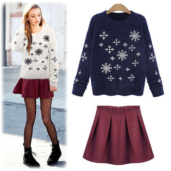 Snow Flakes Print Long Sleeve Sweater with Mini Skirt
