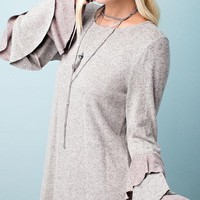 Layer It On Flutter-Sleeve Sweater (Taupe)