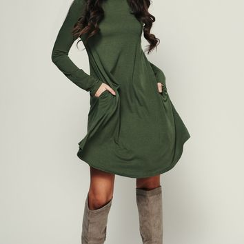 Get With It Shift Dress (Army Green)