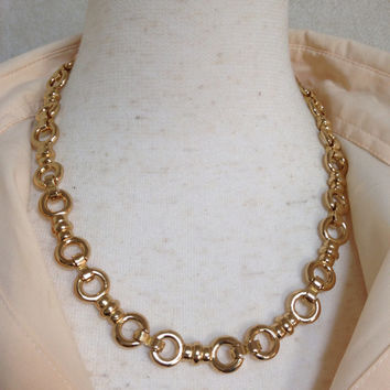 MINT. Vintage Christian Dior gancini style golden chain statement necklace. Perfect Dior vintage jewelry gift.