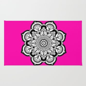 Black and White Flower in Magenta Rug by Azima