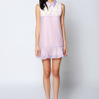 Doll Collar Lace Embroidered Fishtail Mini Dress
