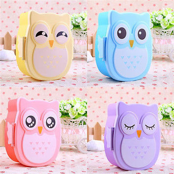Cartoon Owl Lunch Box Food Fruit Storage Container Portable Lunchbox Bento Box A
