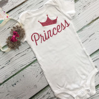 BABY GIRLS Glitzy Princess outfit, Flower Headband, Princess Bodysuit, Baby Girls Clothing, Baby Girls outfit, Baby Shower Gift for girls