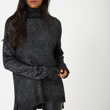Knitted Metallic Yarn Jumper in Black