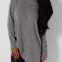 Symone Grey Roll Neck Asymmetric Jumper | Pink Boutique