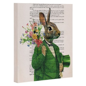 Coco de Paris Rabbit with flowers Art Canvas