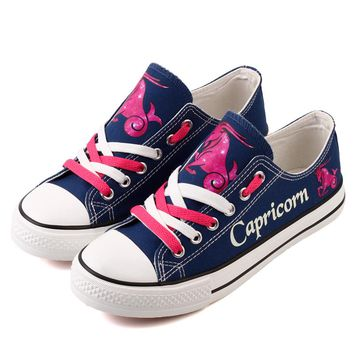 Fantasy Hand Printing Capricorn Constellation Canvas Shoes Superstar Graffiti Casual Flat Shoe Customized Oxford Shoes for Women