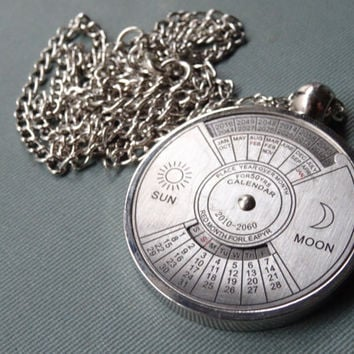 1- Perpetual Calendar Necklace 50 Year Calendar Real Working Spinning Turn Dial Calendar dates up to year 2060