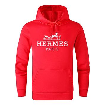 Hermes Fashion Casual Print Long Sleeve Hoodie Sweater Pullover Top Sweatshirt Red