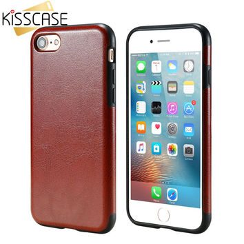 KISSCASE i7 7 plus Luxury Leather Case For iPhone 7 7 Plus Cases Crazy Horse Case For iPhone 7 Plus Retro Ultra Thin Soft Cover