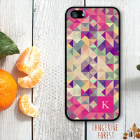 Bold Pink Geometric Pattern. Customize With Your Initial. iPhone 4 // 4s // 5 // 5s // 5c