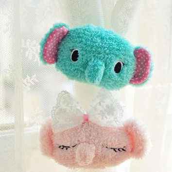 SENTIMENTAL CIRCUS Kawaii Cartoon Mint Green & Pink Elephant Lace Plush Curtain Buckle Curtain Clip Strap