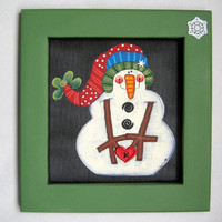 Folk Art and Funky Snowman with Large Arms holding a Heart