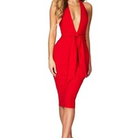 Connie Halter Bodycon Midi Dress