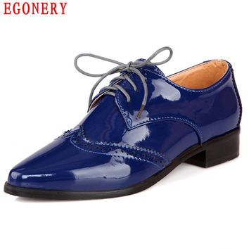 EGONERY New Casual Blue Patent Leather Oxfords Lace Up Punk Brogue Pointed Toe Womens Ankle Shoes Top Size 41