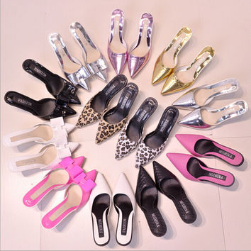 2016 summer new Women shoes  fashion tip fine with high-heeled shoes Women sexy leopard bow sandals and slippers Women sandals