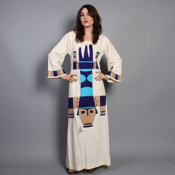 60s Novelty CAFTAN DRESS / Ethnic TRIBAL Face Embroidered Bell Sleeve Maxi
