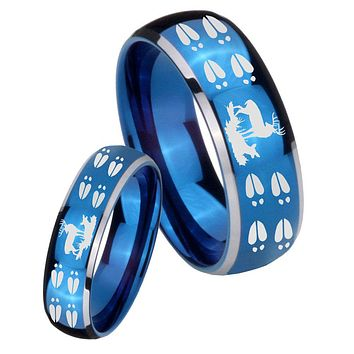 His Her Glossy Blue Dome Deer Hunting Tracks Two Tone Tungsten Wedding Rings Set