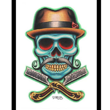 Black Market Barber Skull Art Print
