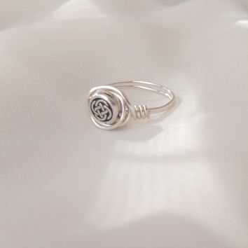 celtic knot ring wire wrapped, silver plated celtic knot bead ring, irish jewelry, nested bead ring,