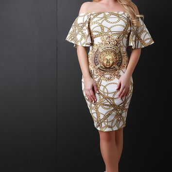 Chain Linked Trumpet Sleeve Bardot Dress