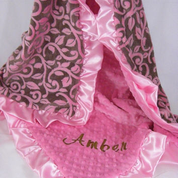 Brown and Pink Personalized Minky Baby Blanket Brown Vine