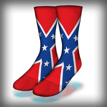 Confederate Flag Crew Socks Novelty Streetwear