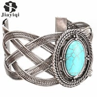 2016 New Silver Plated Big Oval Turquoise Bangles Fashion Bracelets for Women Christmas Gift Vintage Bracelets