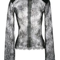 Off-White Sheer Lace High Neck Top - Farfetch