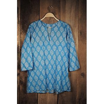 Cotton Print Tunic in Turquoise Waves in Blue