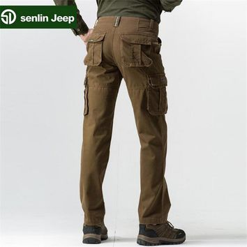 SenLin AFS JEEP Professional Military Many Pockets Cargo Pants,Khaki/Black/Green Pure Cotton Trousers Loose Workers Working Pant