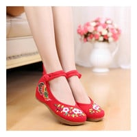 Old Beijing Red Sunflower National Style Woman Shoes with Floral Embroidery Designs & Double Straps