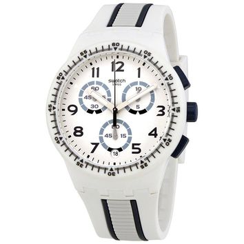 Swatch Escalator White Dial Mens Matte White Chronograph Watch SUSW408